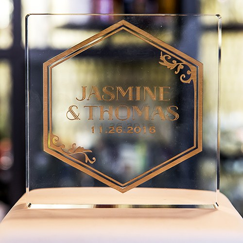Black and Gold Opulence Personalized Engraved Acrylic Block Cake Topper