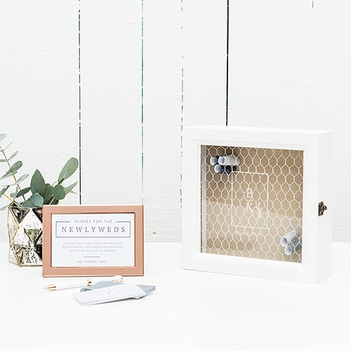 Personalized Wooden Wedding Wish Box - Rustic Love Stacked Monogram