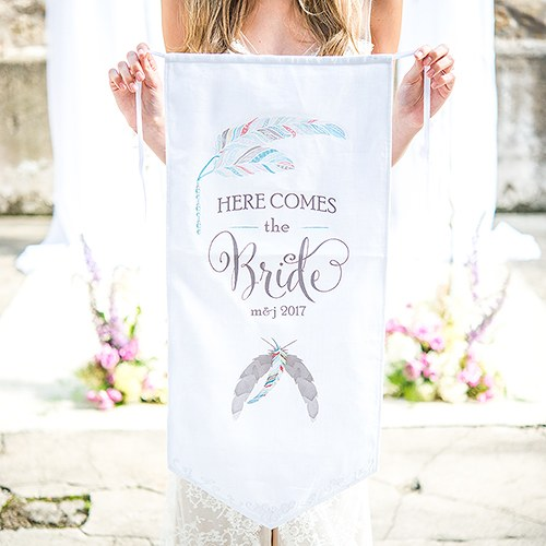 Feather Whimsy Personalized Ceremony Banner