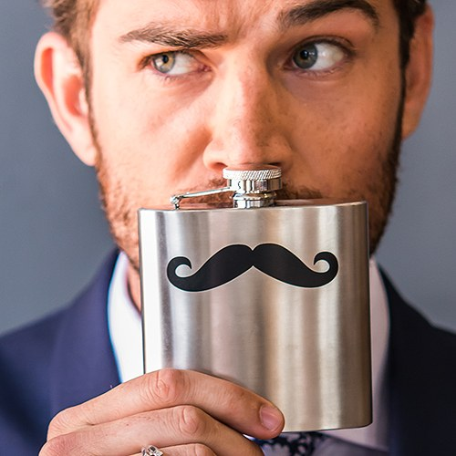 Stainless Steel Flask with Black Mustache Imprint   Matte Silver Finish