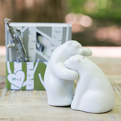 Interlocking Bear Hug Miniature Salt and Pepper with Gift Packaging
