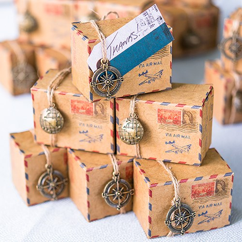 Vintage Inspired Airmail Wedding Favor Box Kit