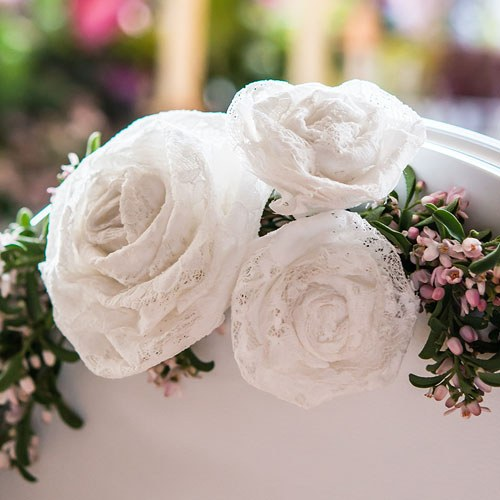 Decorative Rolled Fabric Lace Flower - Small