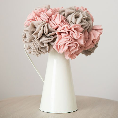Fabric Ruffle Flower on a Single Wire Stem - Large