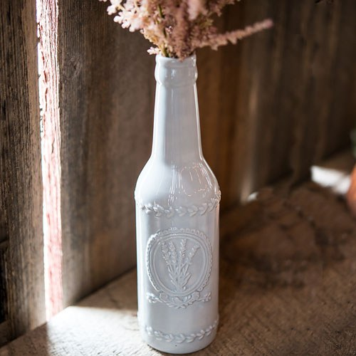 Vintage Inspired Ceramic Bottle with Lavender Motif - Large