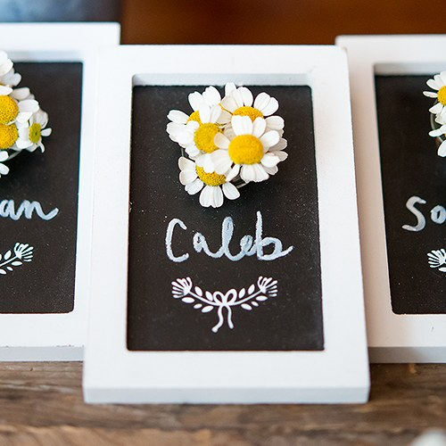 Miniature Framed Chalkboard with Glass Flower Holder