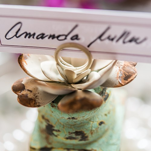 Distressed Finish Table Sign Holder with Flower