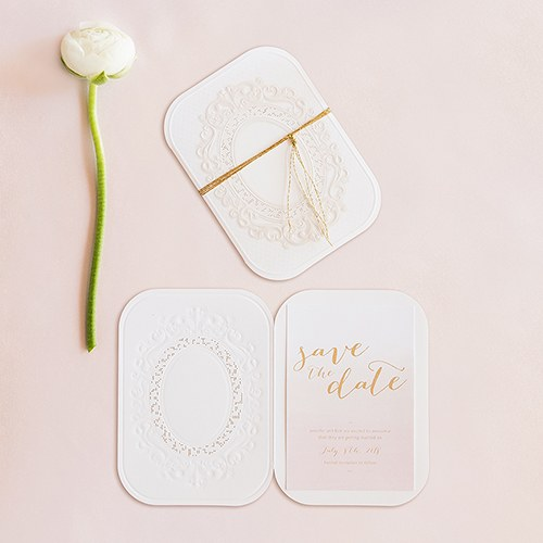 Embossed Pearls and Lace with Aqueous Personalization   Accessory Cards