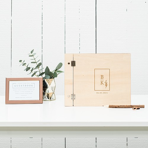 Personalized Wooden Wedding Guest Book - Rustic Love Monogram
