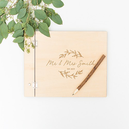 Polaroid Wedding Guest Book.Personalized Wooden Polaroid Wedding Guest Book Signature Script