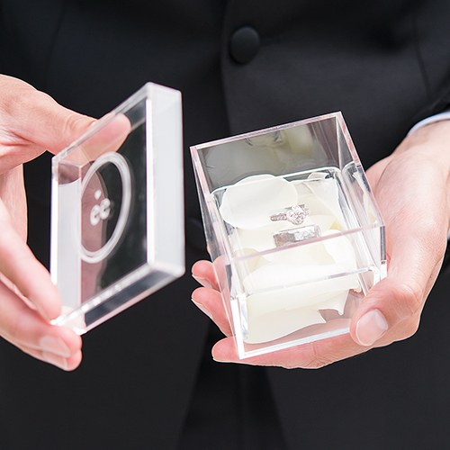 Small Personalized Clear Acrylic Ring Box Little Heart