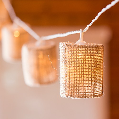 String of lights with natural burlap shades battery led for Burlap lights