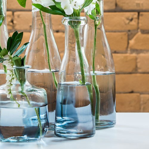 Glass Bottle with Ombre Smoke Decoration - Wide