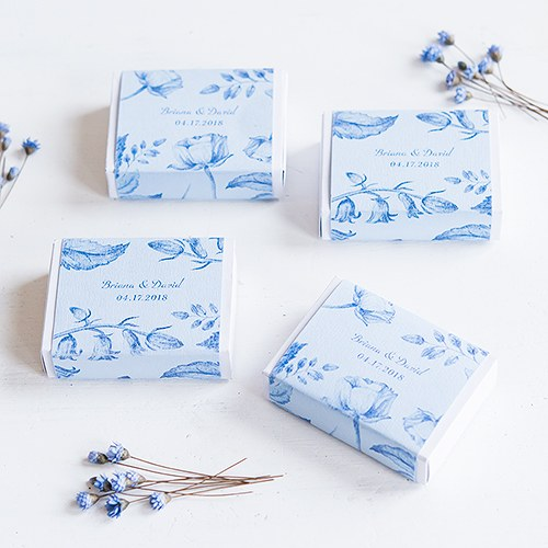 White Drawer-Style Favor Box With Romance Floral Wrap Assortment