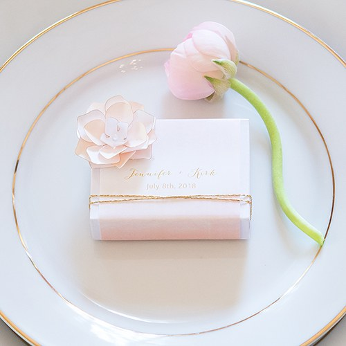 White Drawer-Style Favor Box With Aqueous Wrap