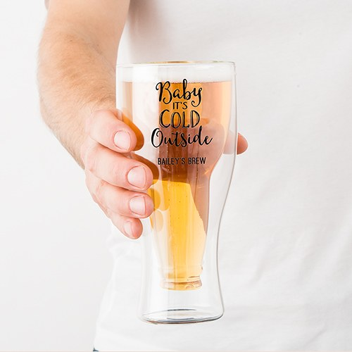 Double Walled Beer Glass - Baby It's Cold Outside Printing