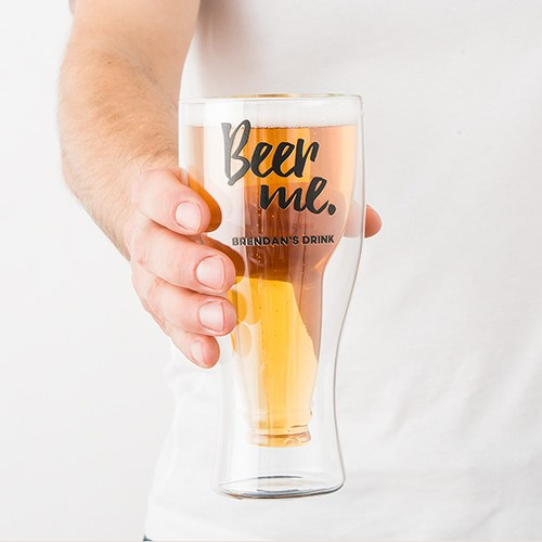 Personalized Double Wall Beer Glass – Beer Me Print