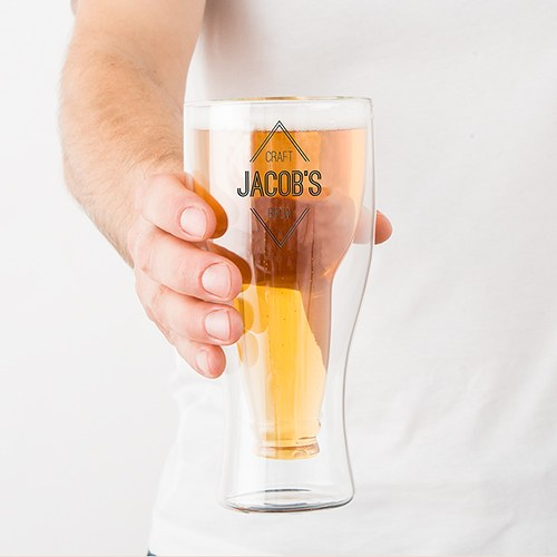 Double Walled Beer Glass - Diamond Emblem Printing