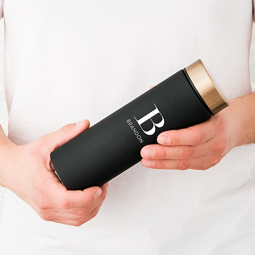 Personalized Stainless Steel Water Bottle - Modern Serif Initial Printing