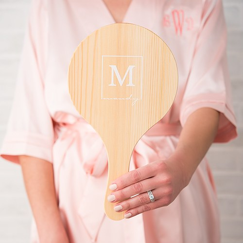 Wooden Hand Mirror - Monogram Square