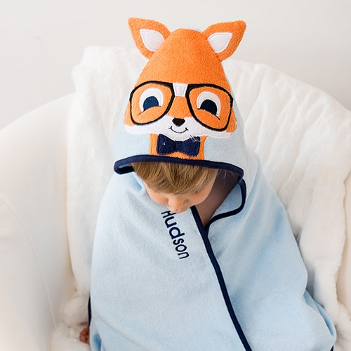 Animal Face Hooded Towel - Fox