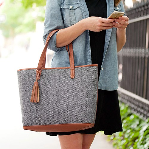 Shoulder Bag Tote - Grey Knit