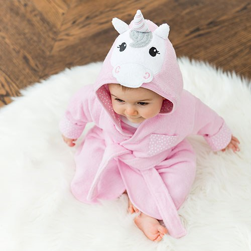 Animal Face Hooded Bathrobe - Pink Unicorn