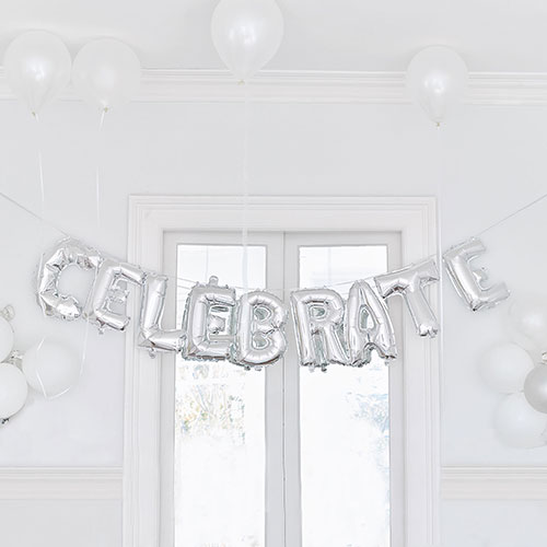 Silver Foil Balloon Decoration - Celebrate