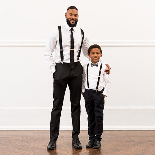 toddler children baby bow tie suspenders wedding outfit attire black