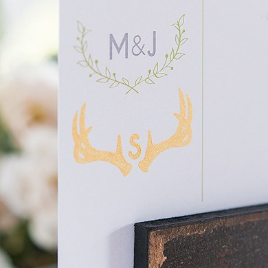 Woodland Pretty Personalised Monogram Antler Rubber Stamp