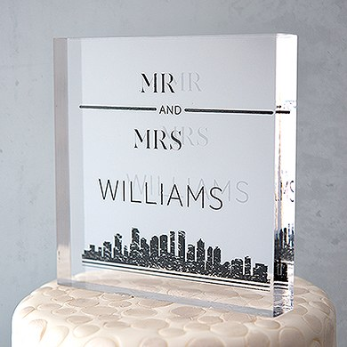 City style personalized clear acrylic block cake topper for Custom acrylic blocks