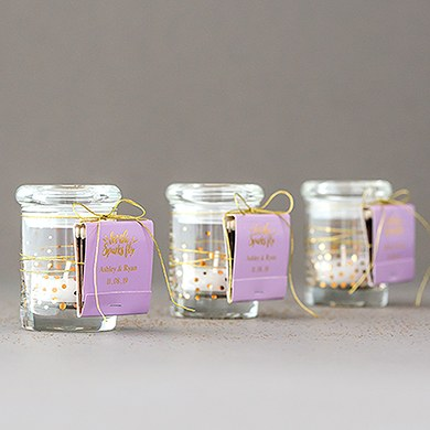 small glass favor jars with lids the knot shop. Black Bedroom Furniture Sets. Home Design Ideas