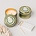 Personalized Gold Tin Candle Wedding Favor - Love Wreath Initial