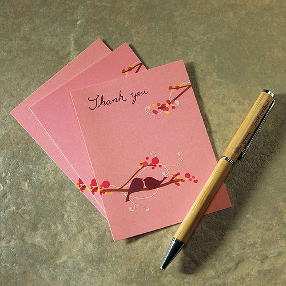 love bird note card wedding stationery