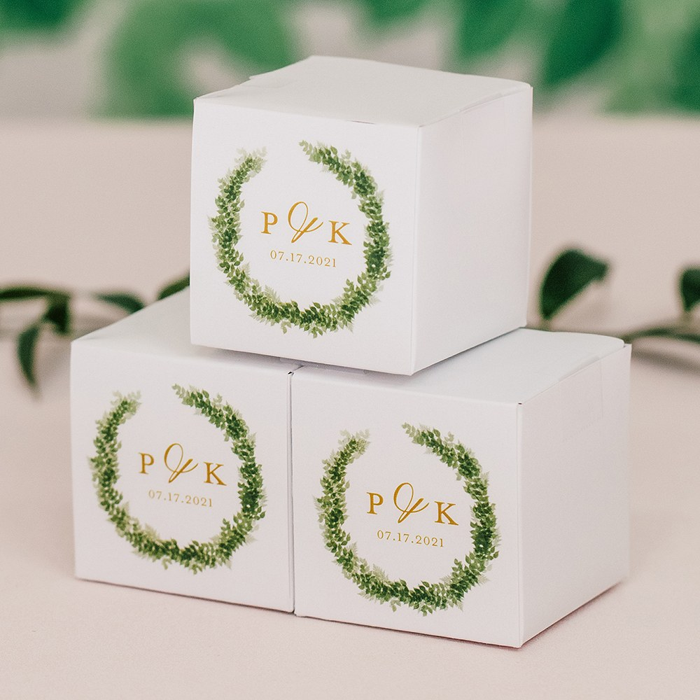 Miniature Custom Printed Square Paper Favor Boxes - Love Wreath Initial