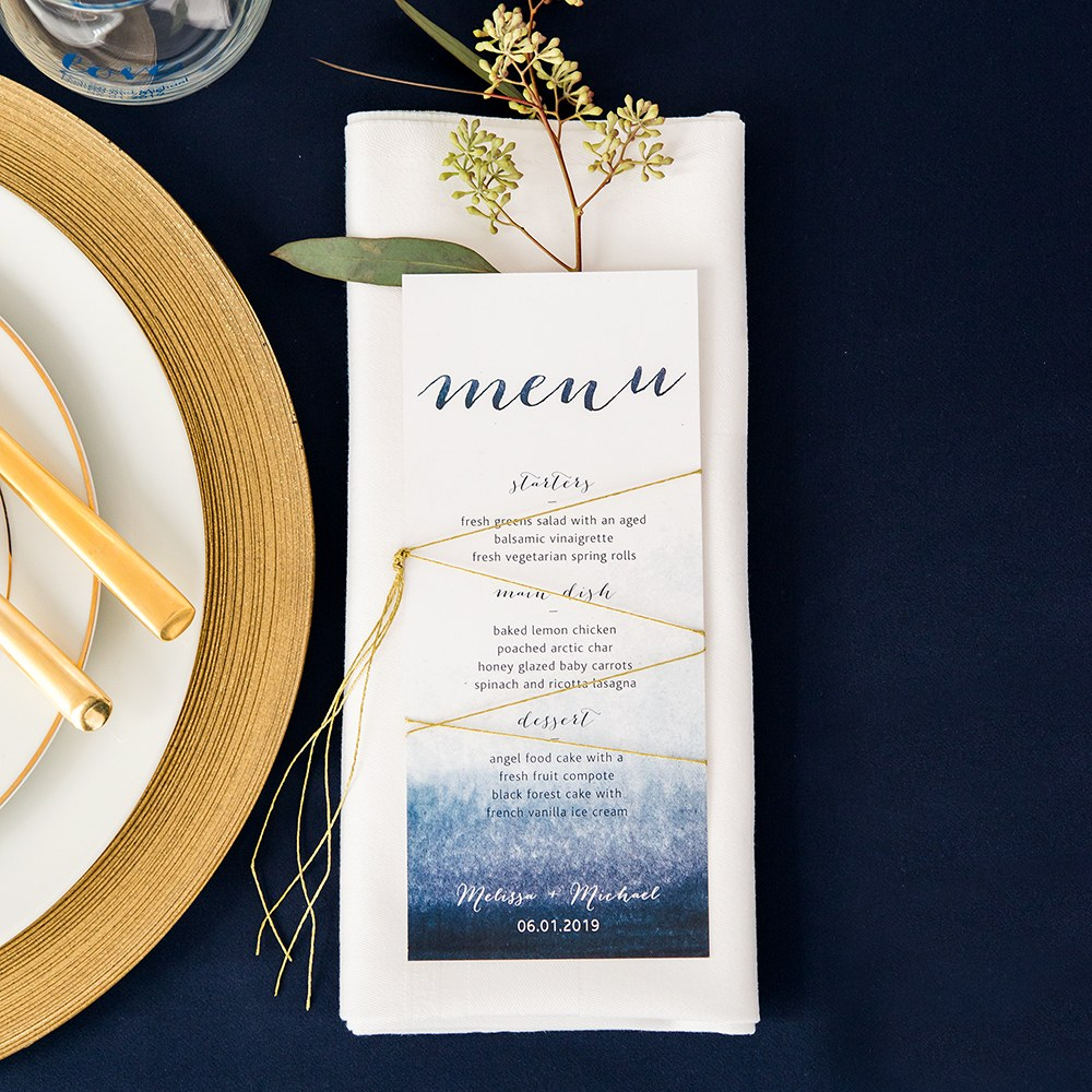Aqueous Menu Card