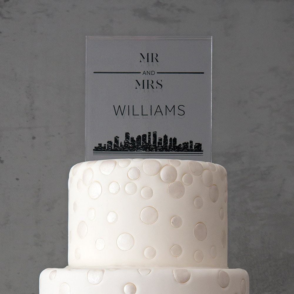 City Style Personalized Clear Acrylic Block Cake Topper