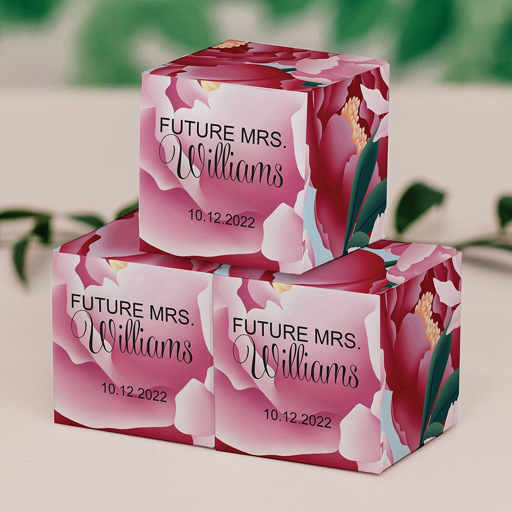 Miniature Custom Printed Square Paper Favor Boxes - Blissful Blooms