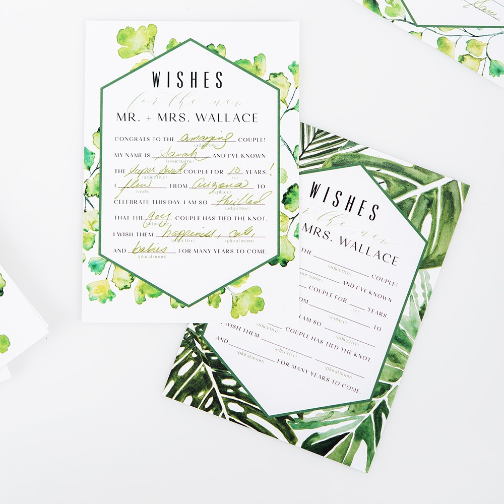 Greenery Wedding Libs Wishes / Advice Cards - Duplex Print