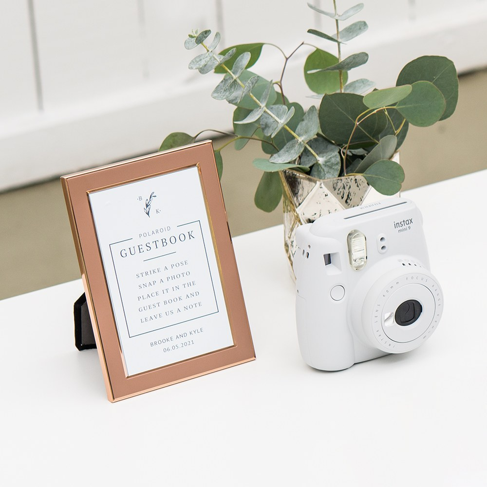 Personalized Sticker Sign for Polaroid Photo Wedding Guest Book - Rustic Love