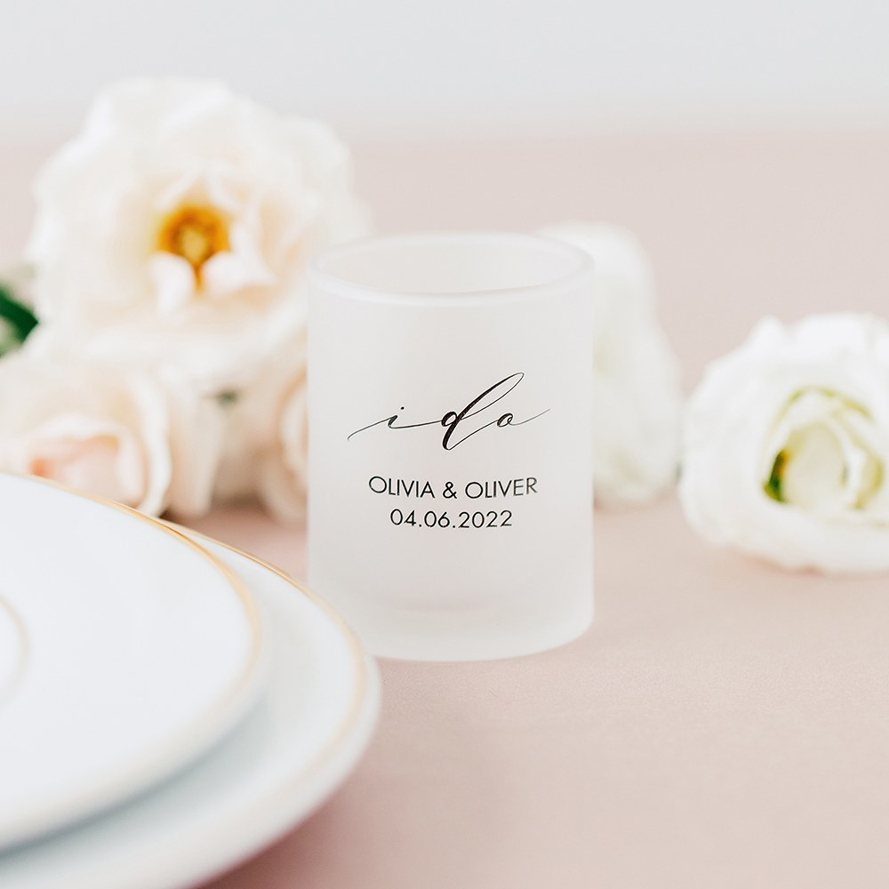 Custom Printed Frosted Shot Glass Wedding Favor