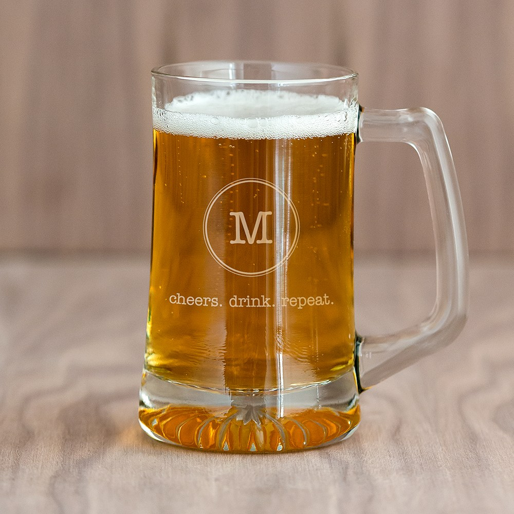 Personalized 14 Oz Glass Beer Mug – Circle Monogram Engraving