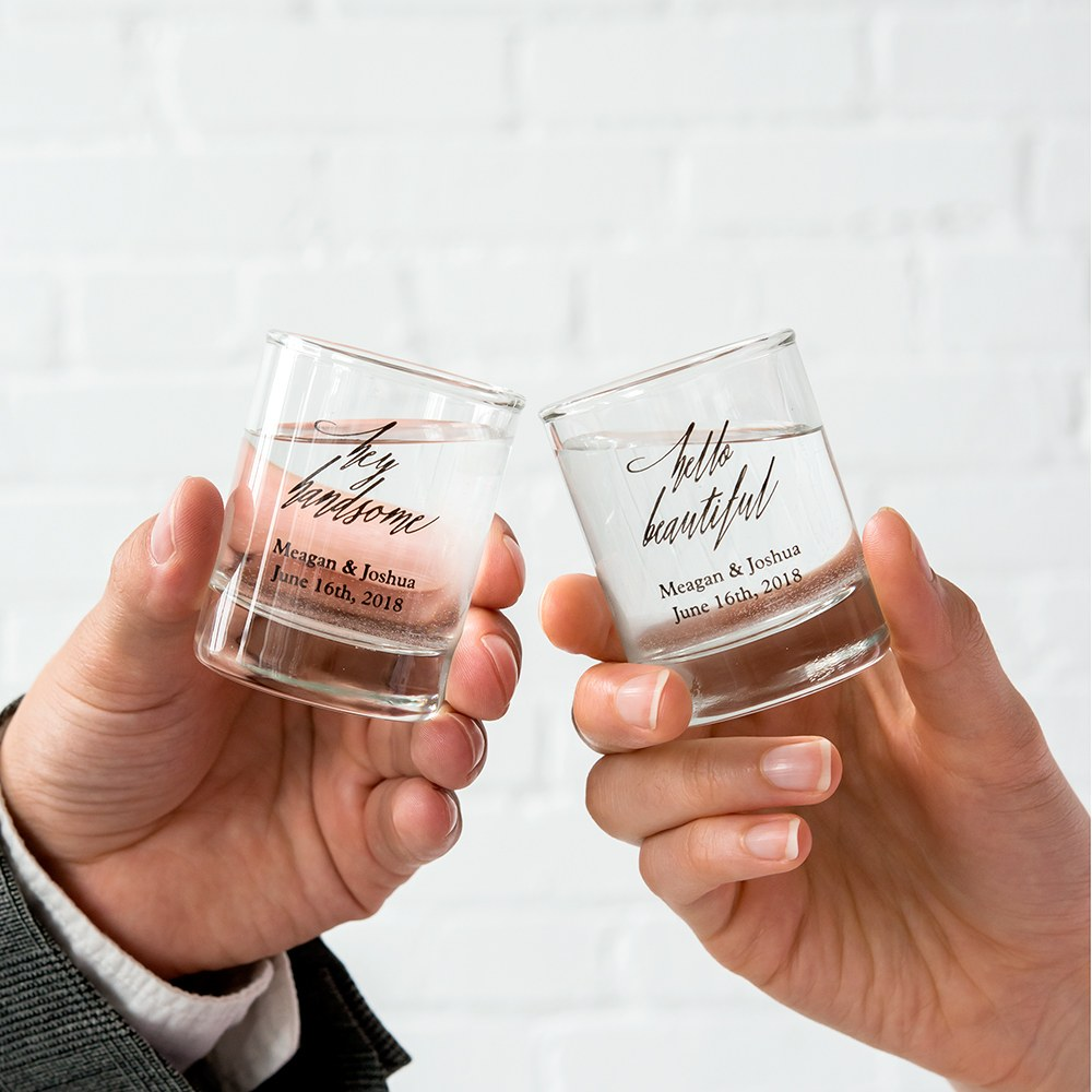 Custom Printed Clear Shot Glass Wedding Favor