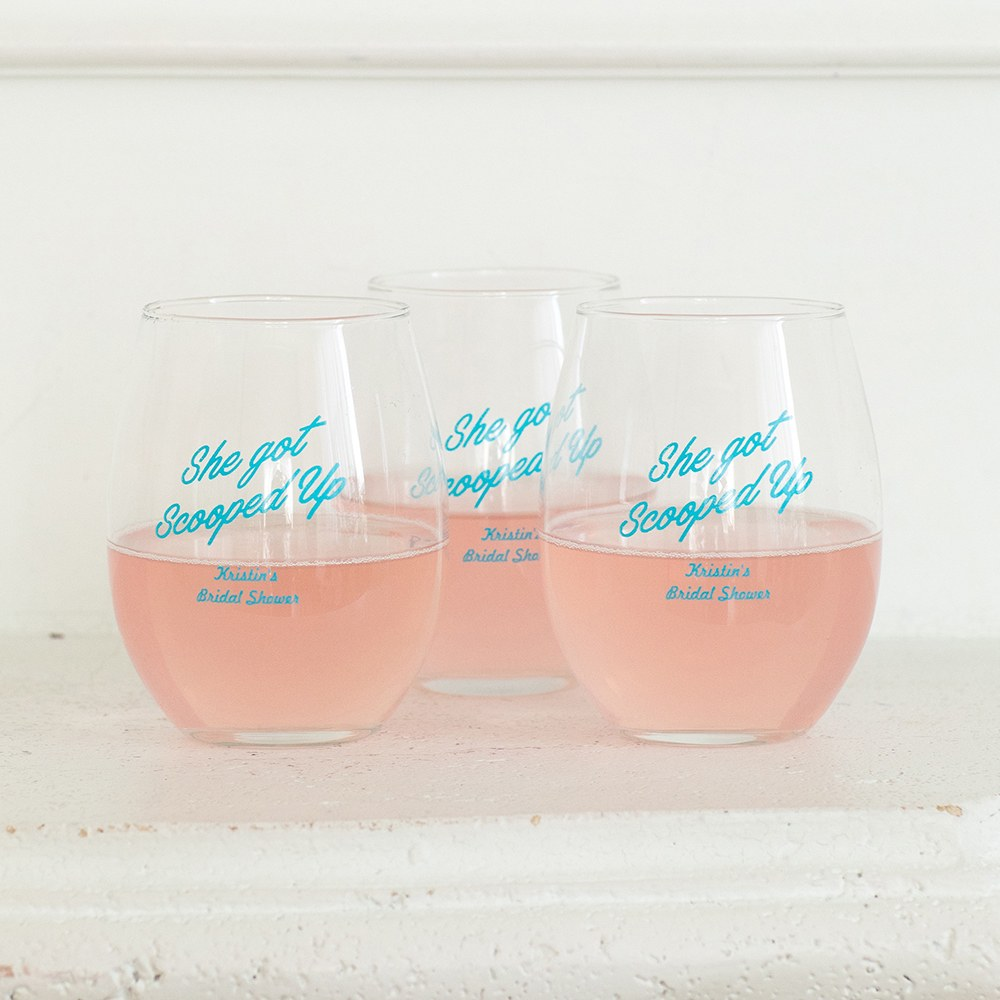 Small Stemless Wine Glass 9 oz Printed