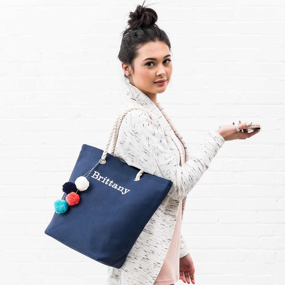 Large Custom Tote Bag - Navy
