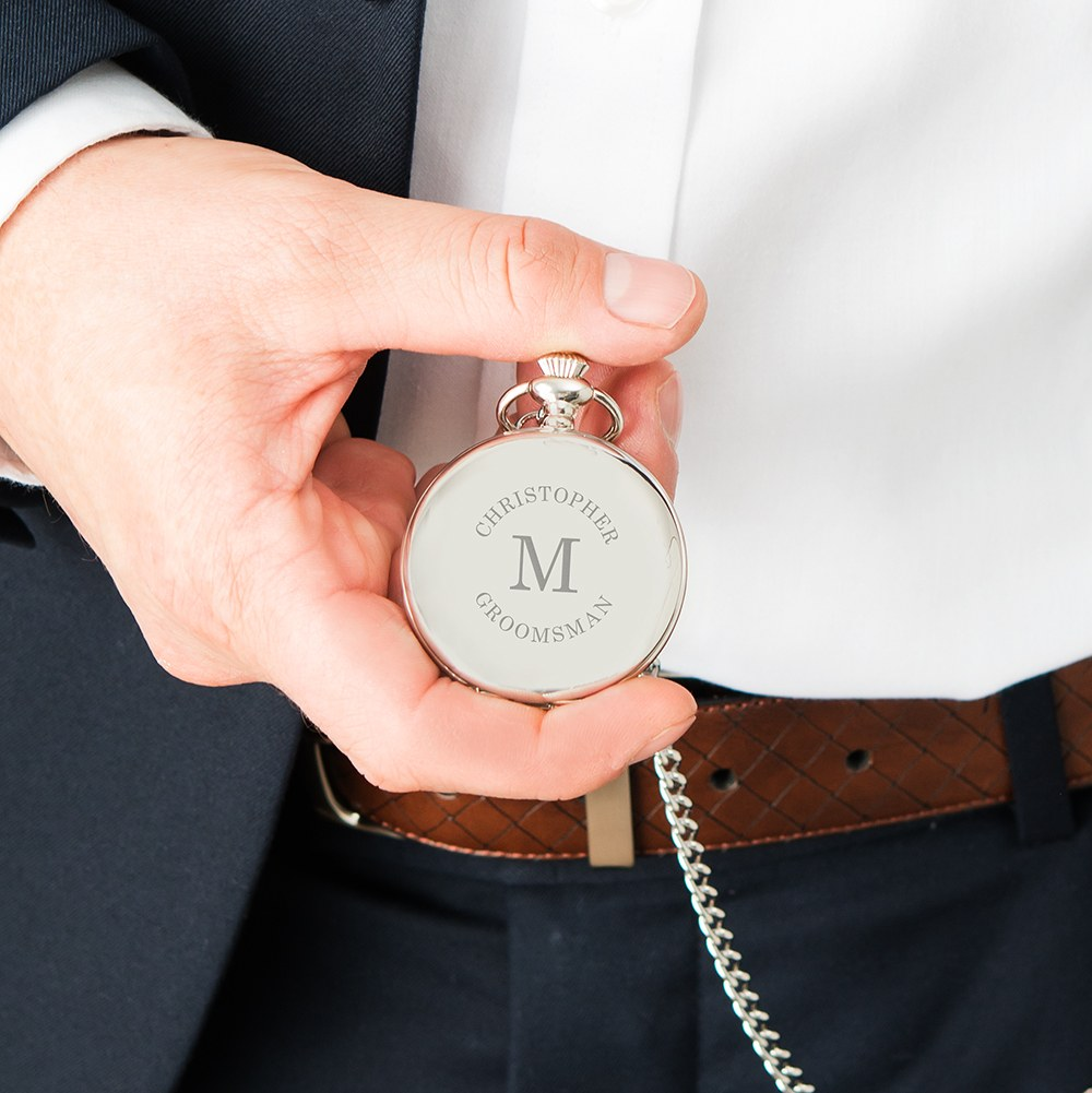 Personalized Silver Mechanical Pocket Watch & Fob - Wrap Text Monogram