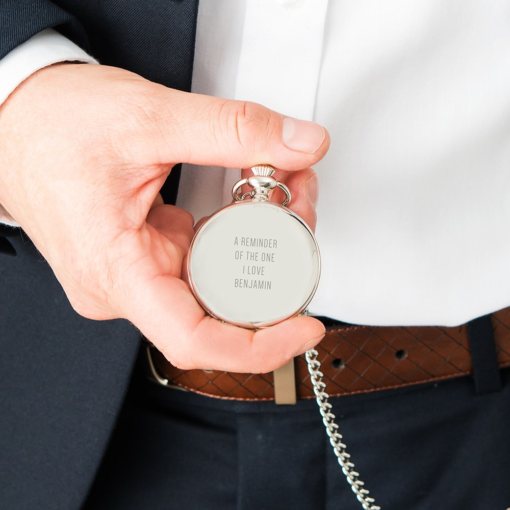 Personalized Silver Mechanical Pocket Watch & Fob - Custom Text