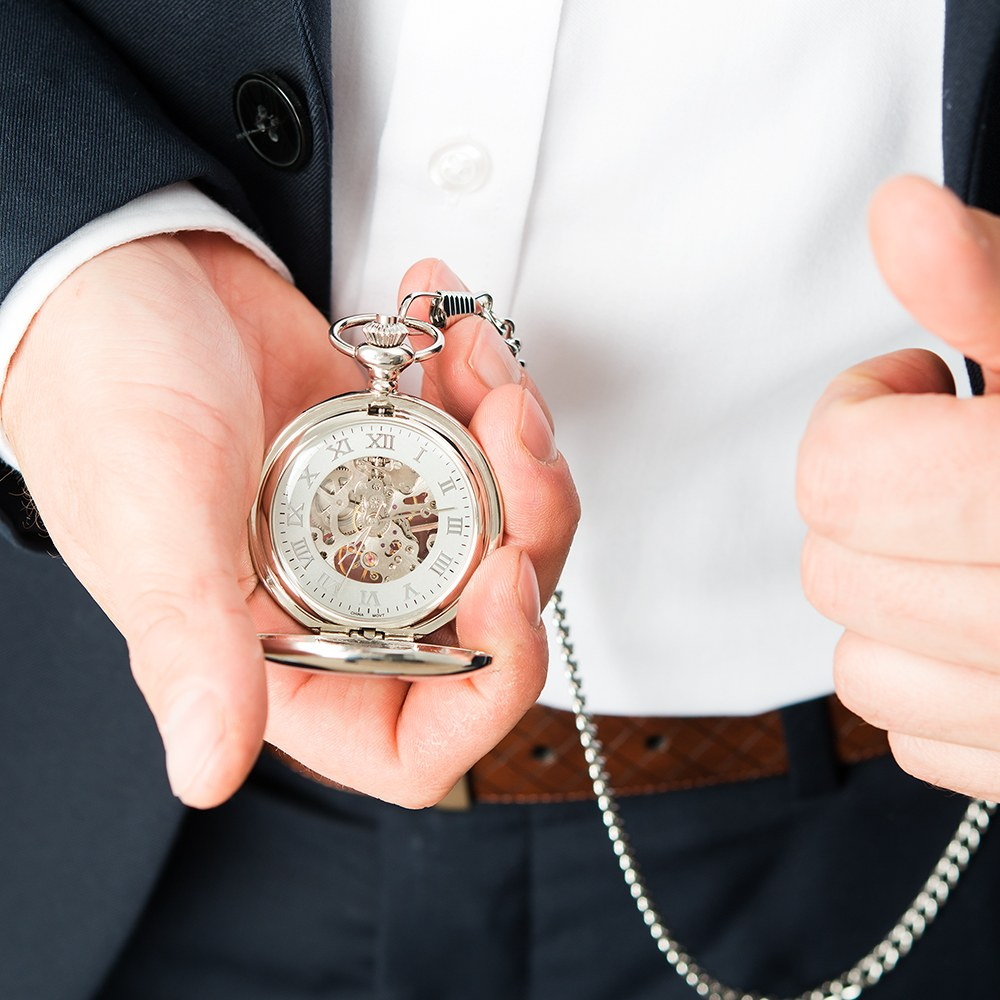 Personalized Silver Mechanical Pocket Watch & Fob - Modern Groomsman