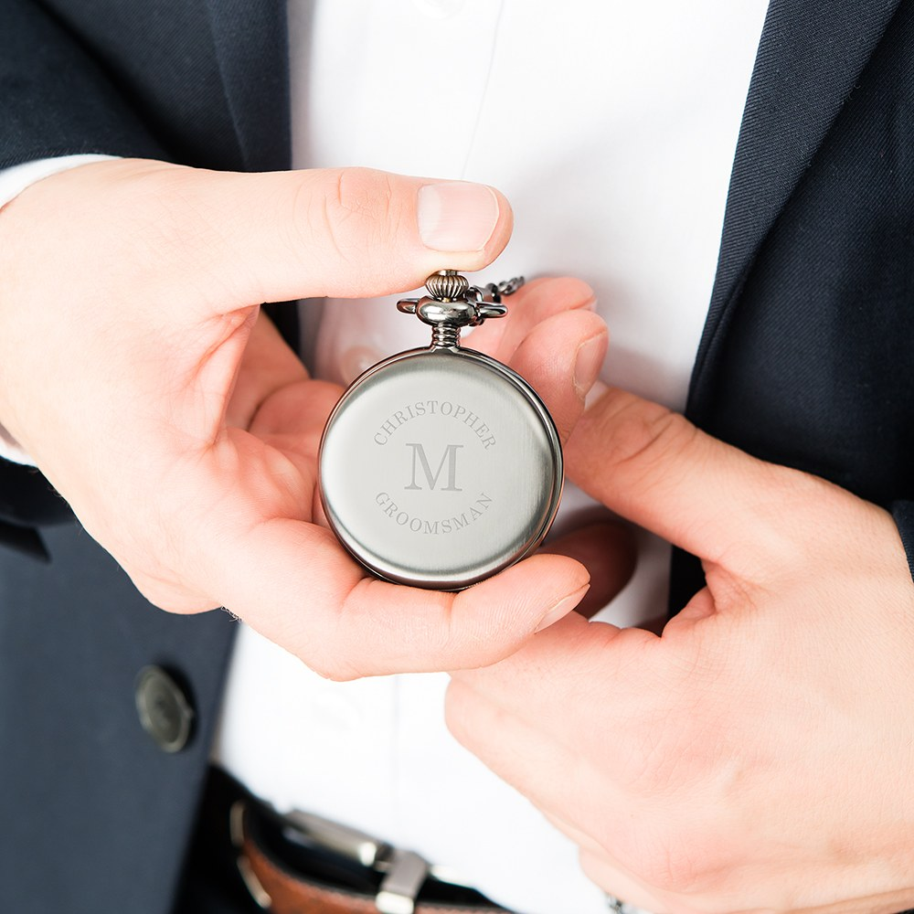Personalized Gunmetal Pocket Watch & Fob - Wrap Text Monogram