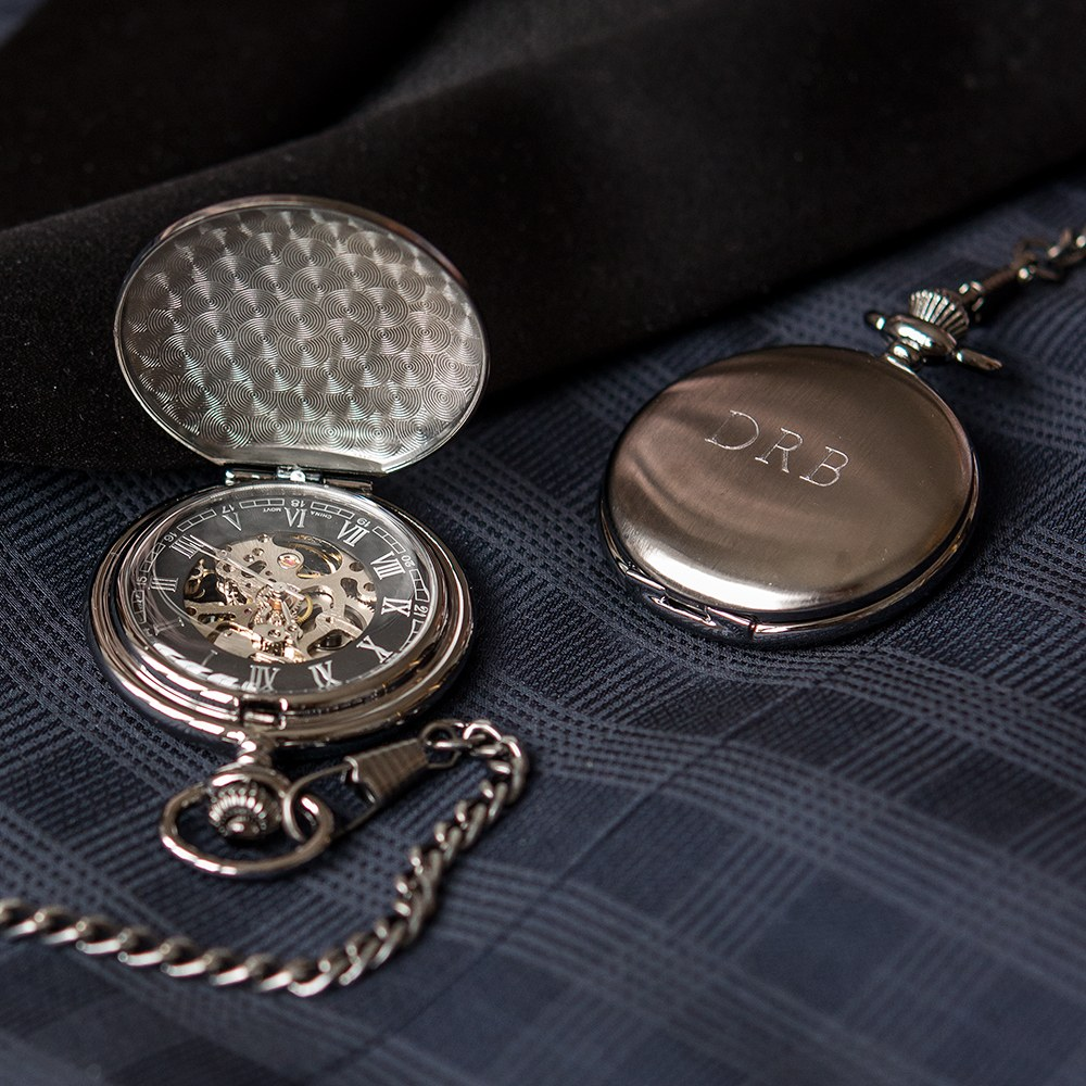 Gunmetal Mechanical Pocket Watch